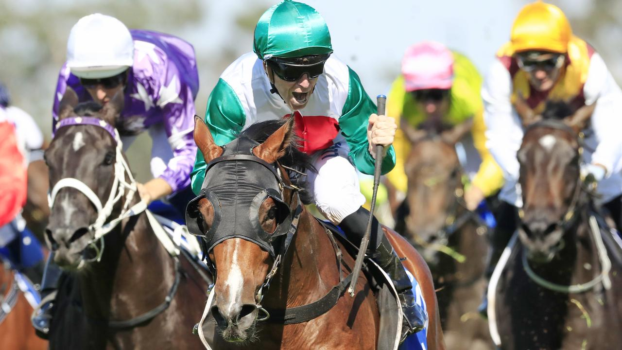 Three-year-old Castelvecchio, with Josh Parr on-board, charges to a win in the Inglis Millennium in February. Picture: Getty Images