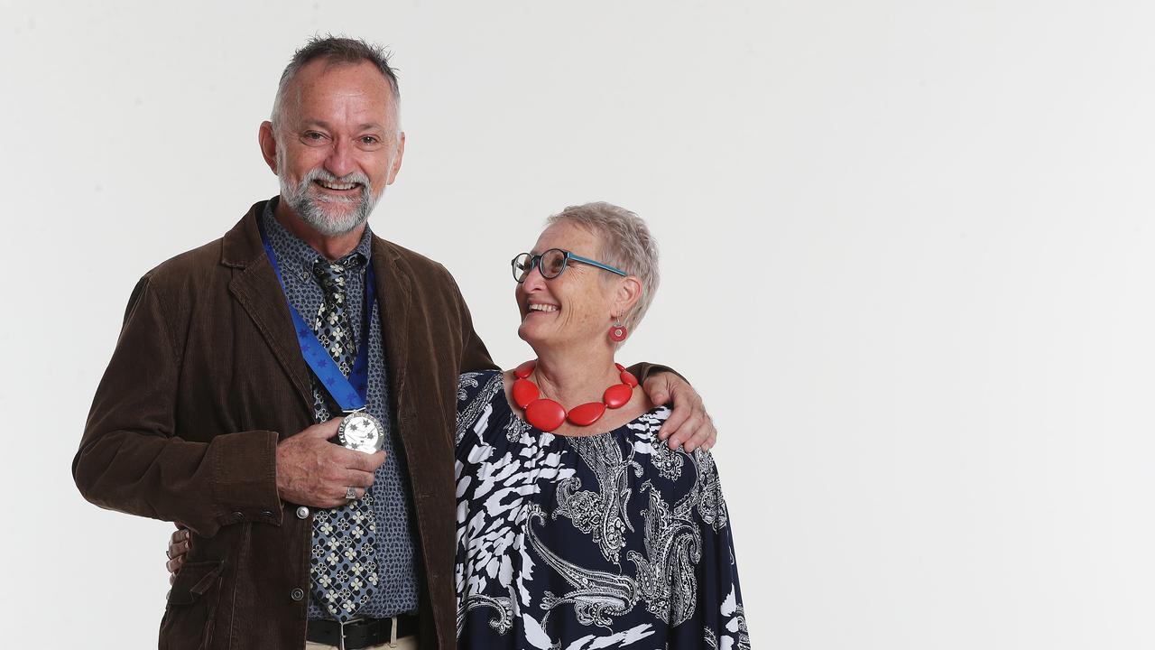 Pride of Australia medallist John Hadok with his partner Janice Quadrio. Picture: Tara Croser.