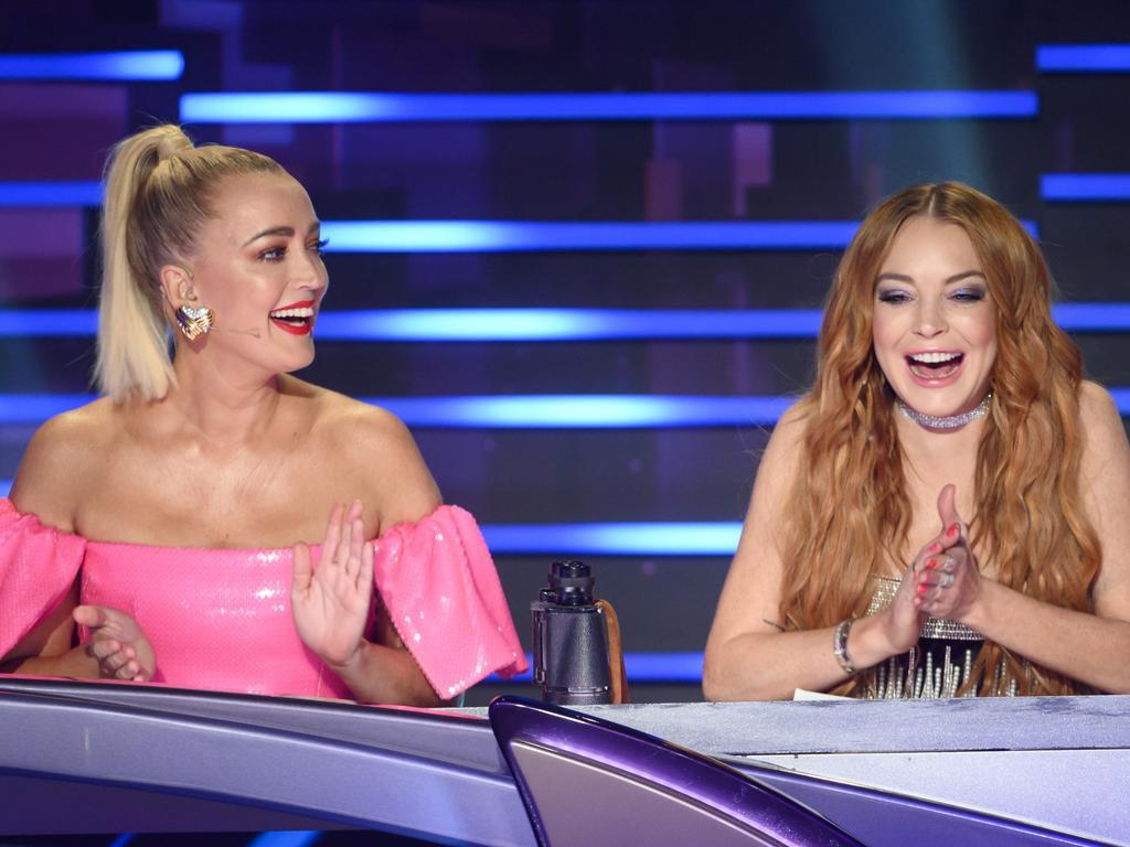 Masked Singer judges Jackie O and Lindsay Lohan. Picture: Ten