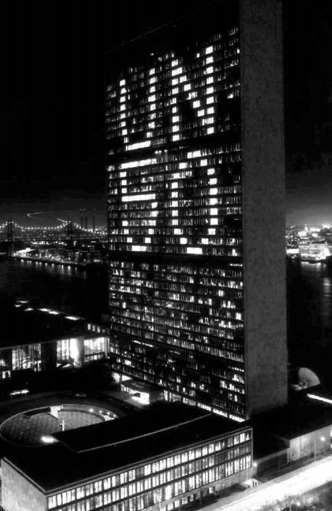 Floors on the UN Secretariat building are lit to advertise the 50th anniversary on this day in 1994.