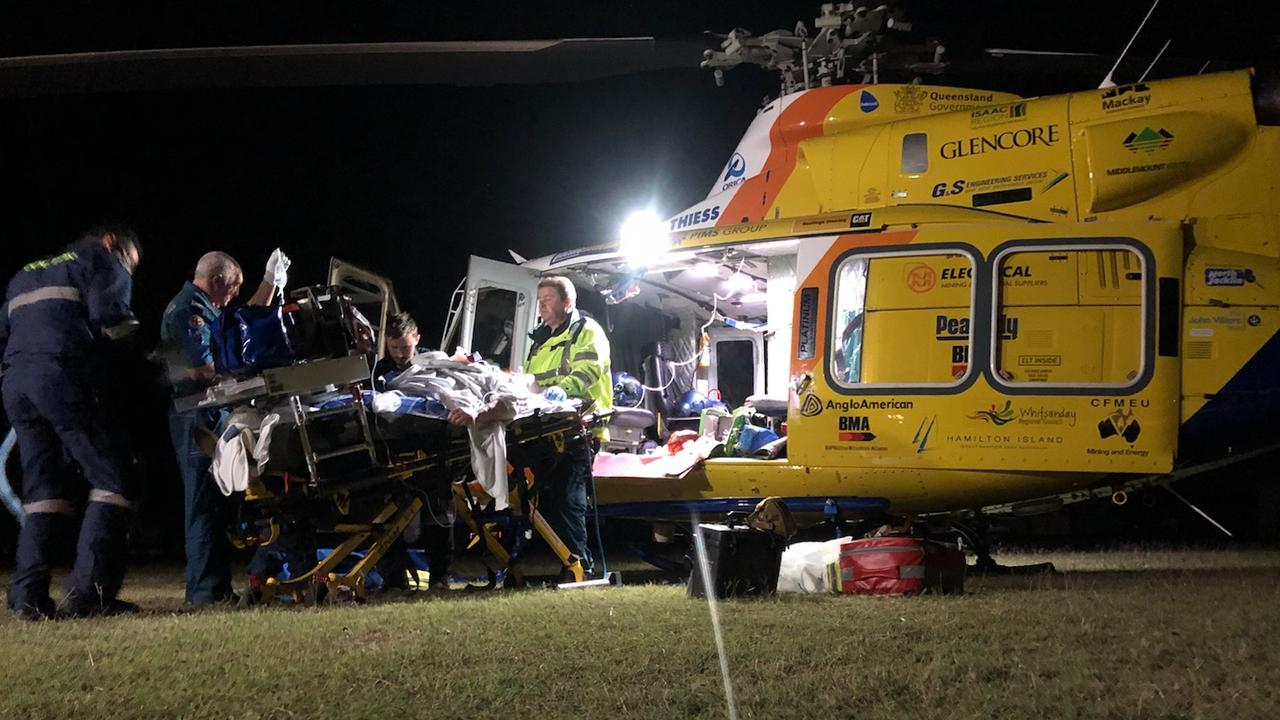 "The RACQ CQ Rescue helicopter flew a 38-year-old man to Townsville Hospital after a ""freak"" incident in St Lawrence. The man was found in a pool of blood with serious injuries."