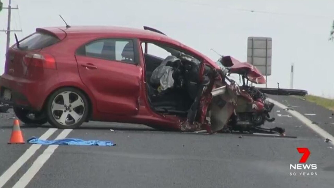 The driver of the Kia Rio was trapped for a short time. Picture: 7 News