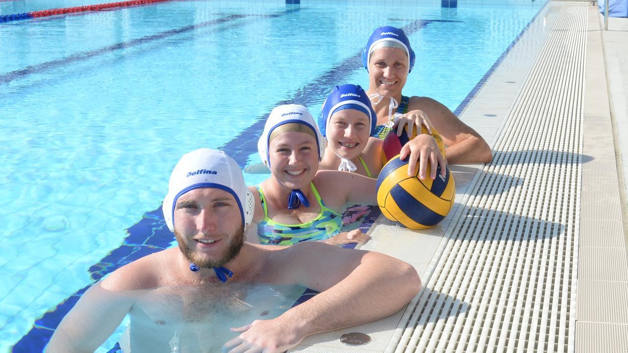 Mackay water polo players Jared Patterson, Brittany Nicolas, Hannah Nicolas and Amanda Cox at the Mackay ARC. (Photo: Aidan Cureton)