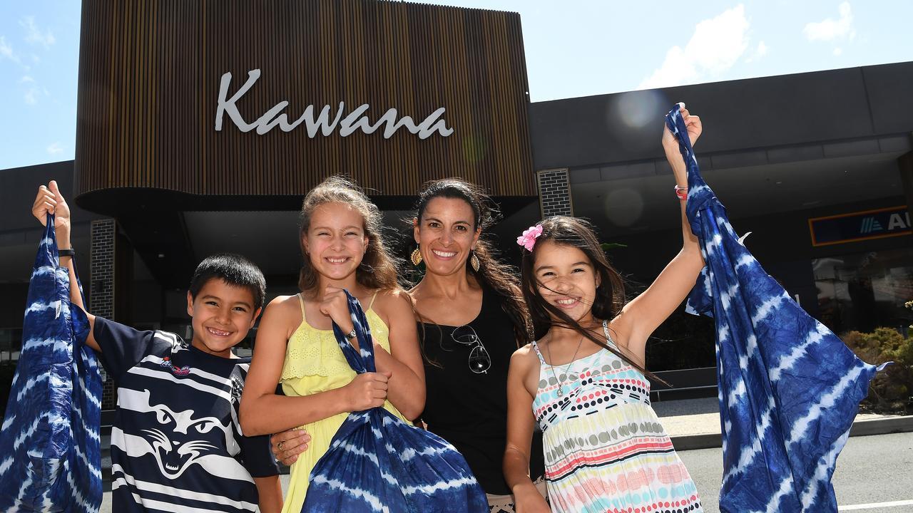Kawana Shoppingworld is celebrating 40 years of service to community. Xavier, 7, Jasmine, 11, Rachel and Jade, 9, Pedrana finish a day of shopping at the centre.