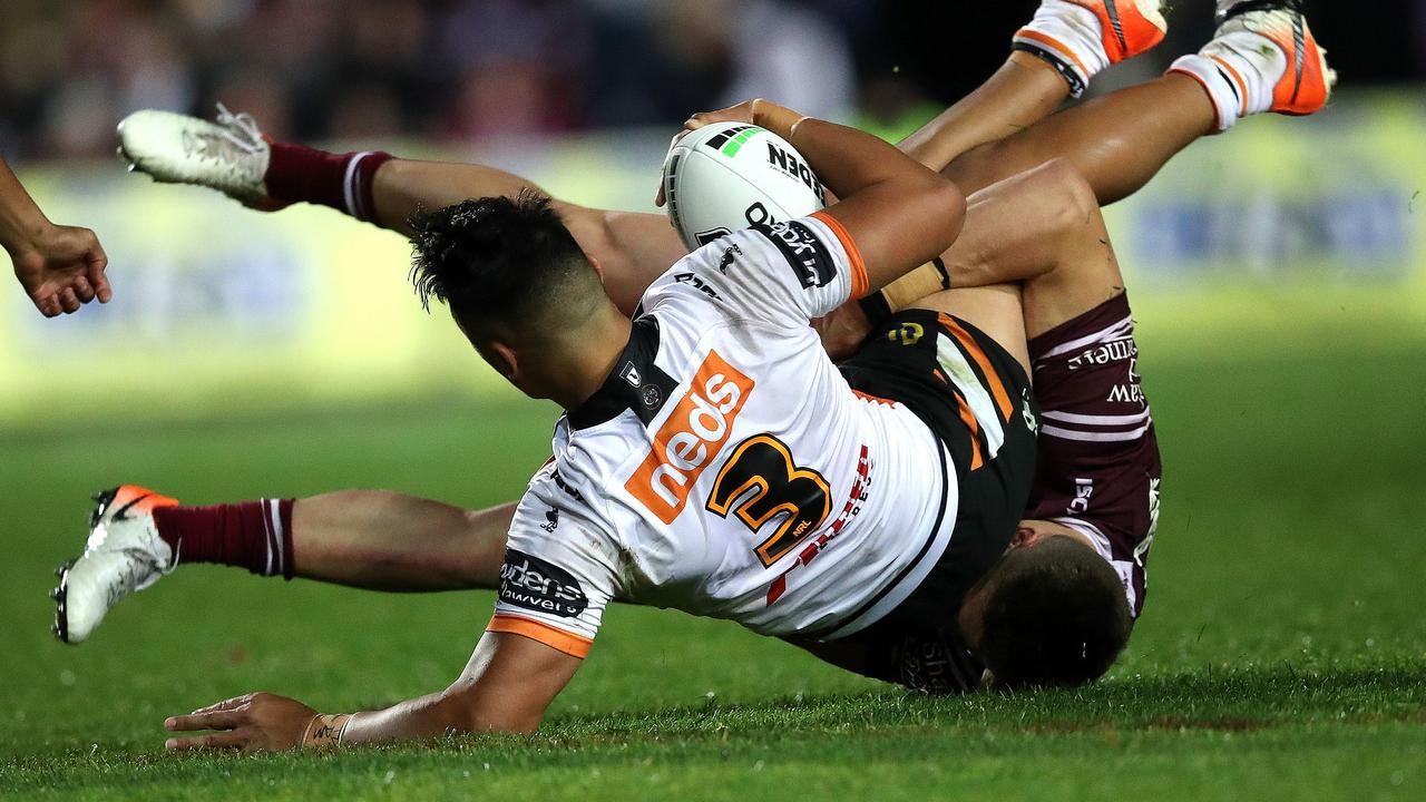 Tommy Talau debuted for Wests Tigers against Manly this year. Picture: Phil Hillyard