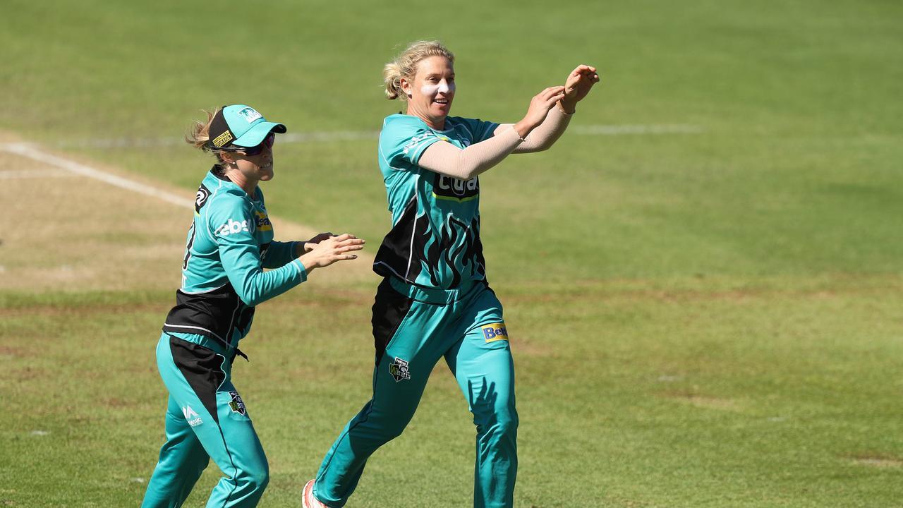 Brisbane's Delissa Kimmince celebrates a wicket during last year's WBBL season. Picture: Brett Costello