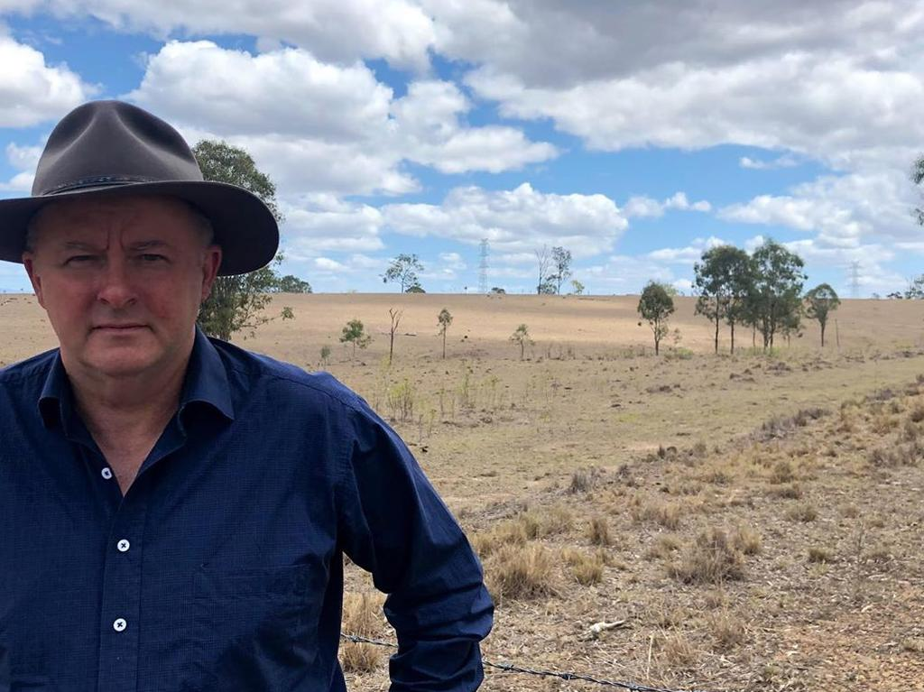 Anthony Albanese in drought-stricken Stanthorpe. The ALP has been critical over the Coalition's drought relief for farmers. Picture: Supplied