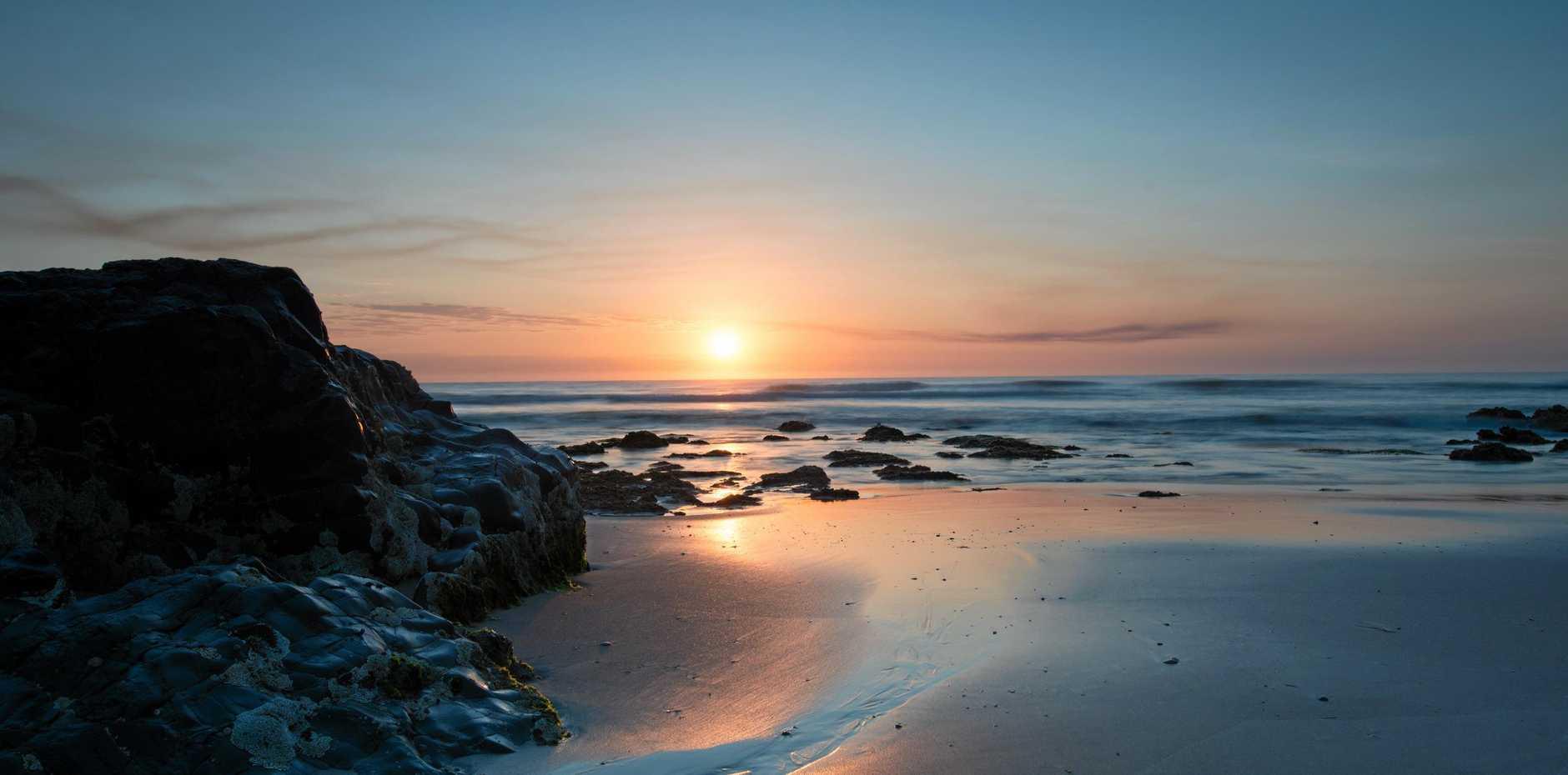 BEACH RIDE: Ray Kirkland has ridden from Woodburn at 5am to Chinamans Beach at Evans Head .