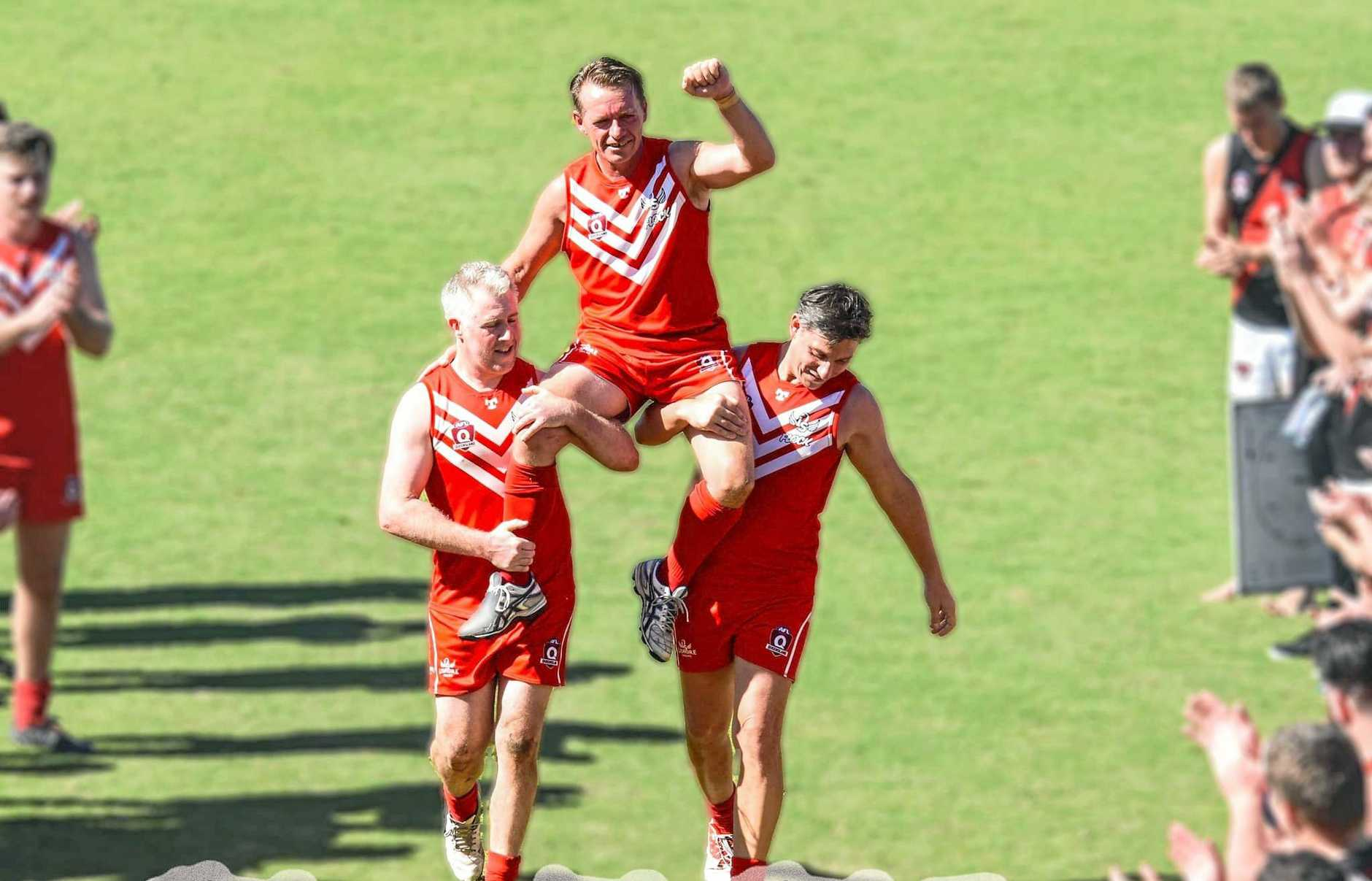 NEW COACH: After his final home game Lismore Swan's reserve player Shawn Holland is chaired off the ground. In October 2019 Holland was appointed the coach of the Swans women's team for the 2020 season.