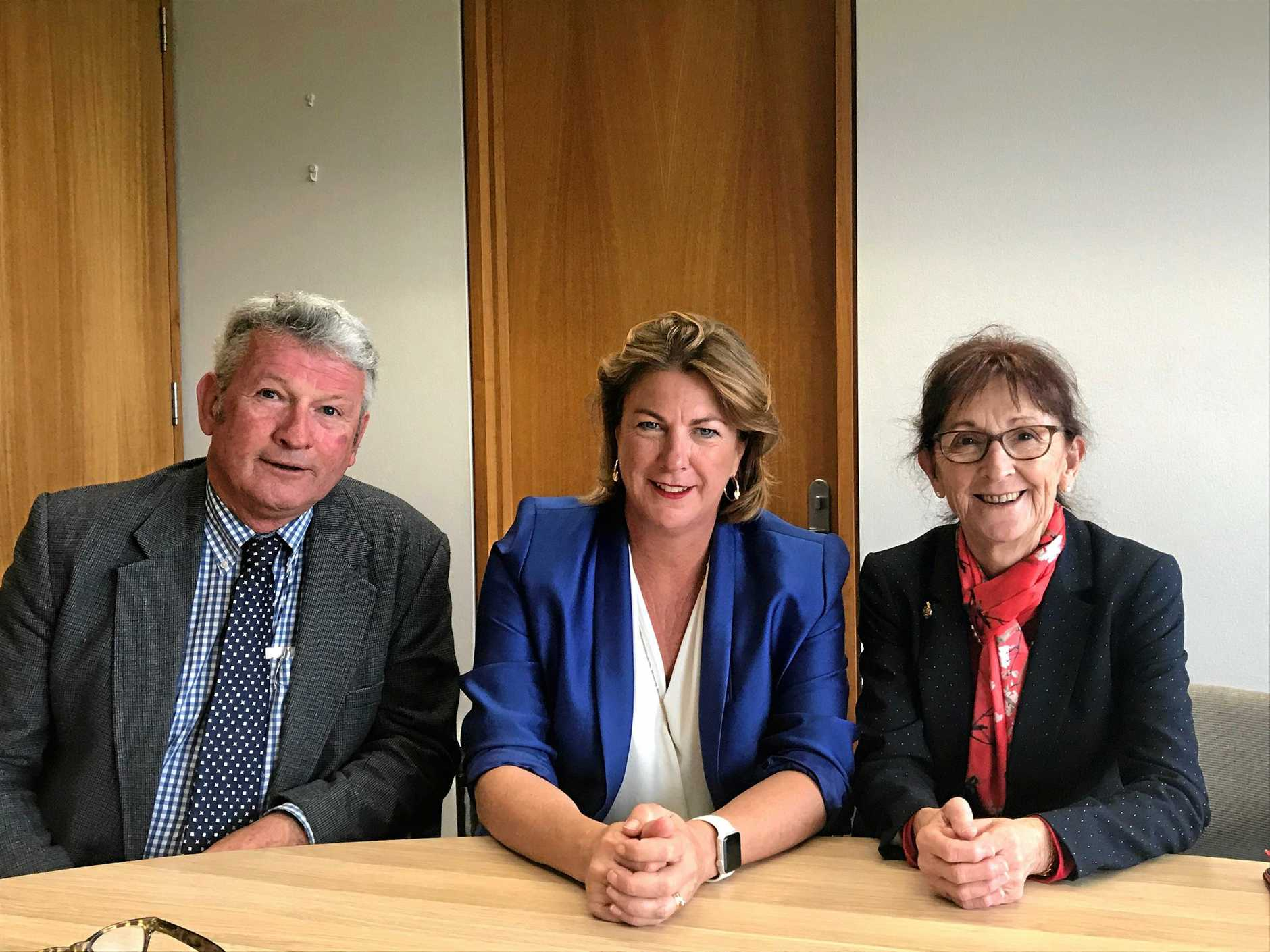 WATER LOBBY: Tenterfield Shire Mayor Cr Peter Petty, NSW Water Minister Melinda Pavey and Lismore MP Janelle Saffin in Parliament House this week.
