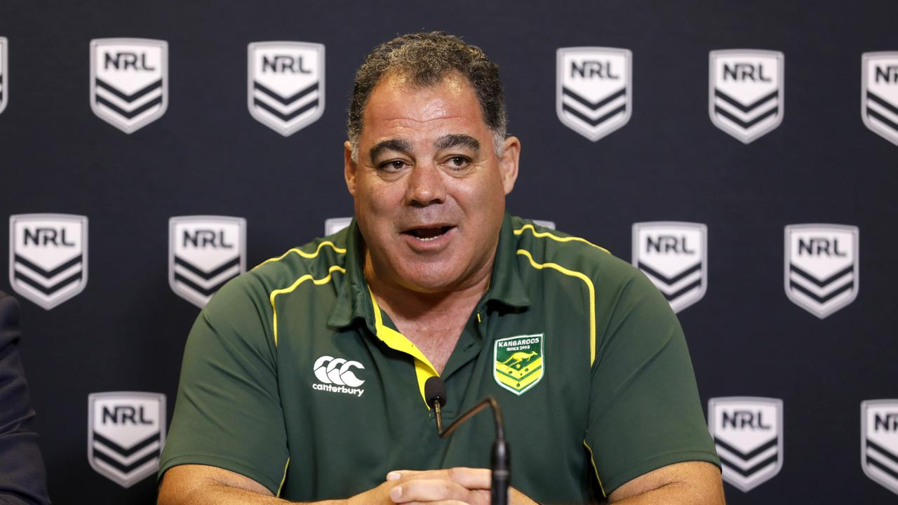 Australian Kangaroos coach Mal Meninga announces the new Kangaroo team during a press conference at Rugby League Central in Sydney, Monday, October 7, 2019. Mal Meninga named six potential debutants in his squad to face New Zealand and Tonga. (AAP Image/Chris Pavlich) NO ARCHIVING
