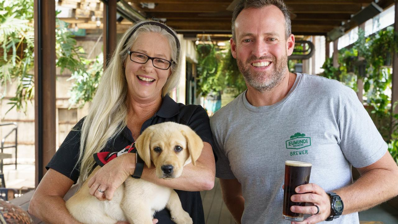 SMART PUPS: Janelle Denny, Nelson the Smart Pup and Chris Sheehan at The Imperial Hotel where Funds were raised from sales of the 'Hinterland Craft Beer Festival Coffee larger. Photo: Alain Bouvier