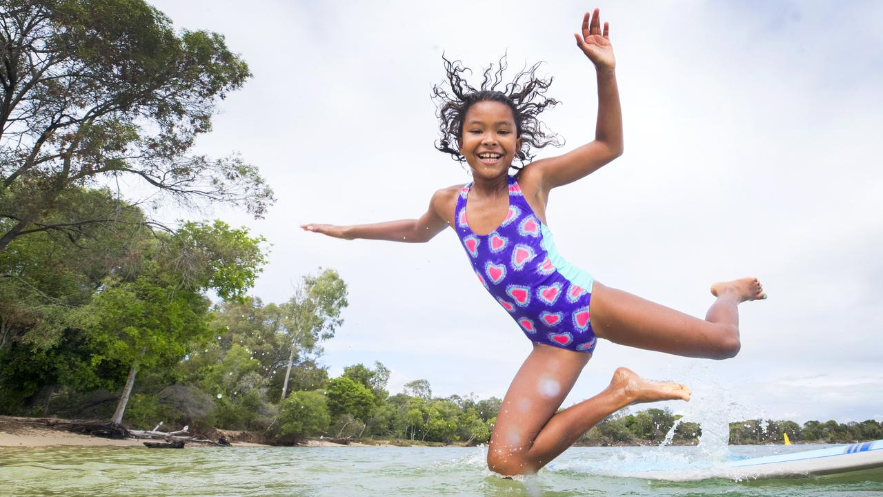 EIGHT-year-old Kiri Todhunter from Ninderry takes a dip in the Noosa River during the school holidays reflecting in her beaming smile the high satisfaction Sunshine Coast residents have with their waterways. Photo Lachie Millard