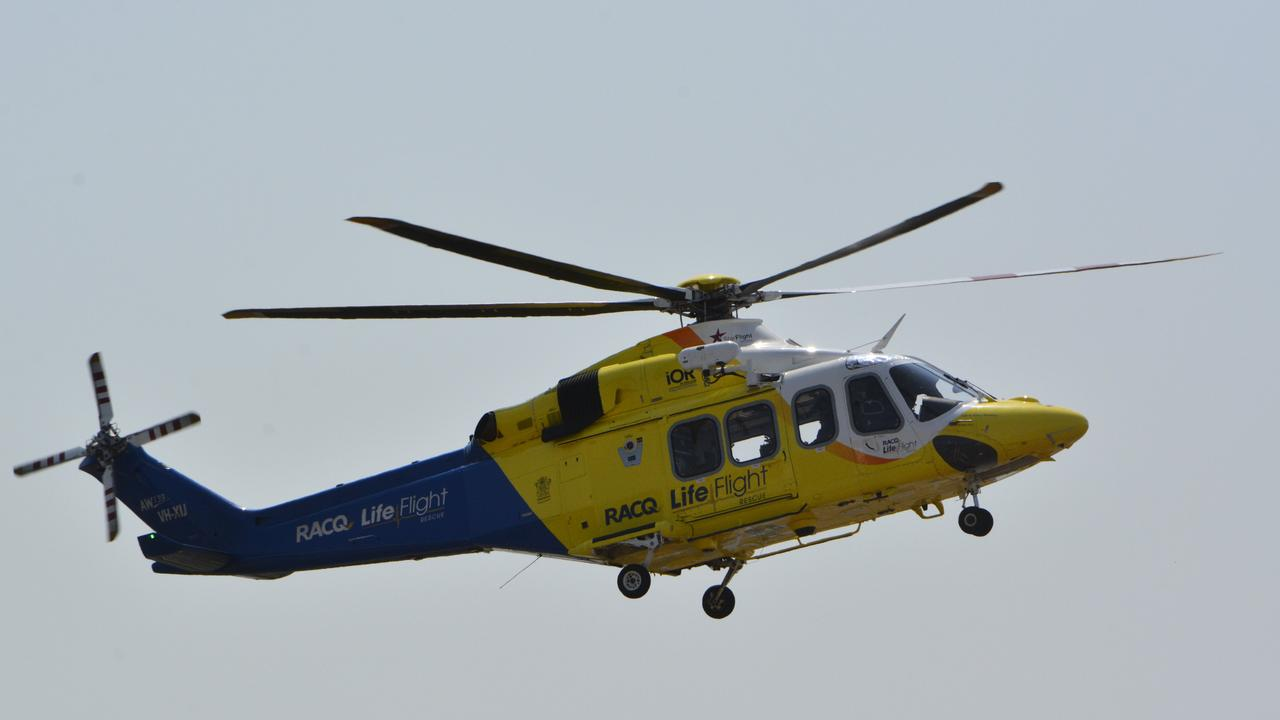 A man has been airlifted from Mission Beach to Townsville Hospital after falling from his skateboard on Tuesday evening.