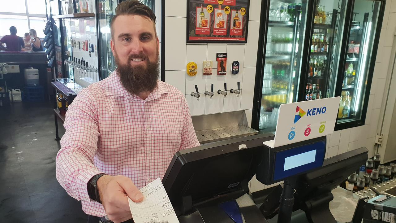 BIG WIN: Venue manager Ryan Hamrey at the Railway Hotel, awarded best Keno venue in Queensland.