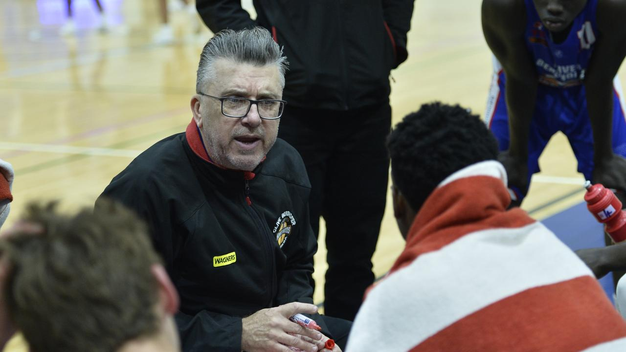 Toowoomba Mountaineers coach Danny Breen during time out against Logan Thunder in QBL men round 6 basketball at USQ's Clive Berghofer Recreation Centre, Saturday, June 1, 2019.