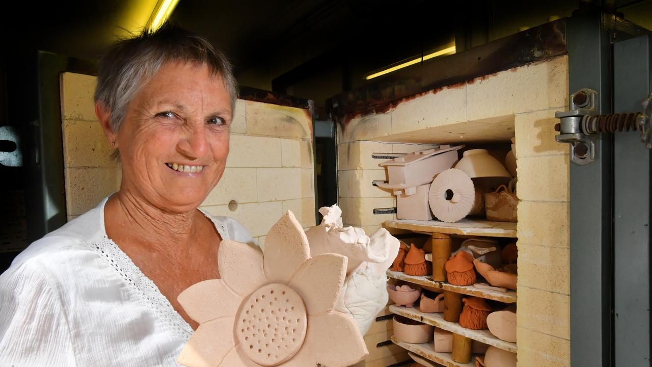 CREATIVE: Jan Johnstone is ready for the annual sale held by pottery group Clay Den Potters. Photo: John McCutcheon / Sunshine Coast Daily.