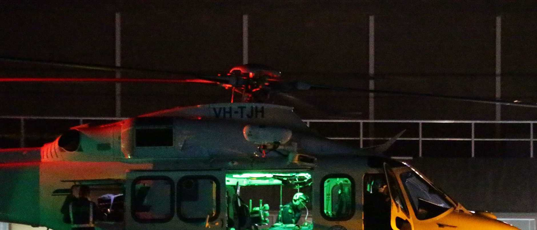 Trapped miner transported via helicopter
