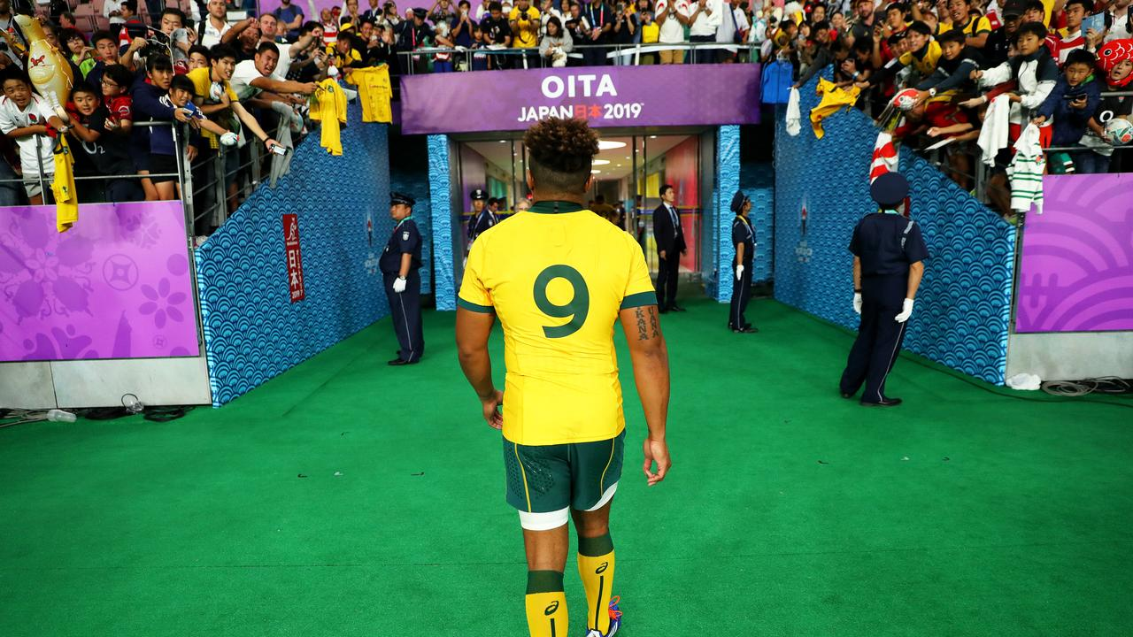 Genia walks from the field for the last time as a Wallaby. Picture: Getty
