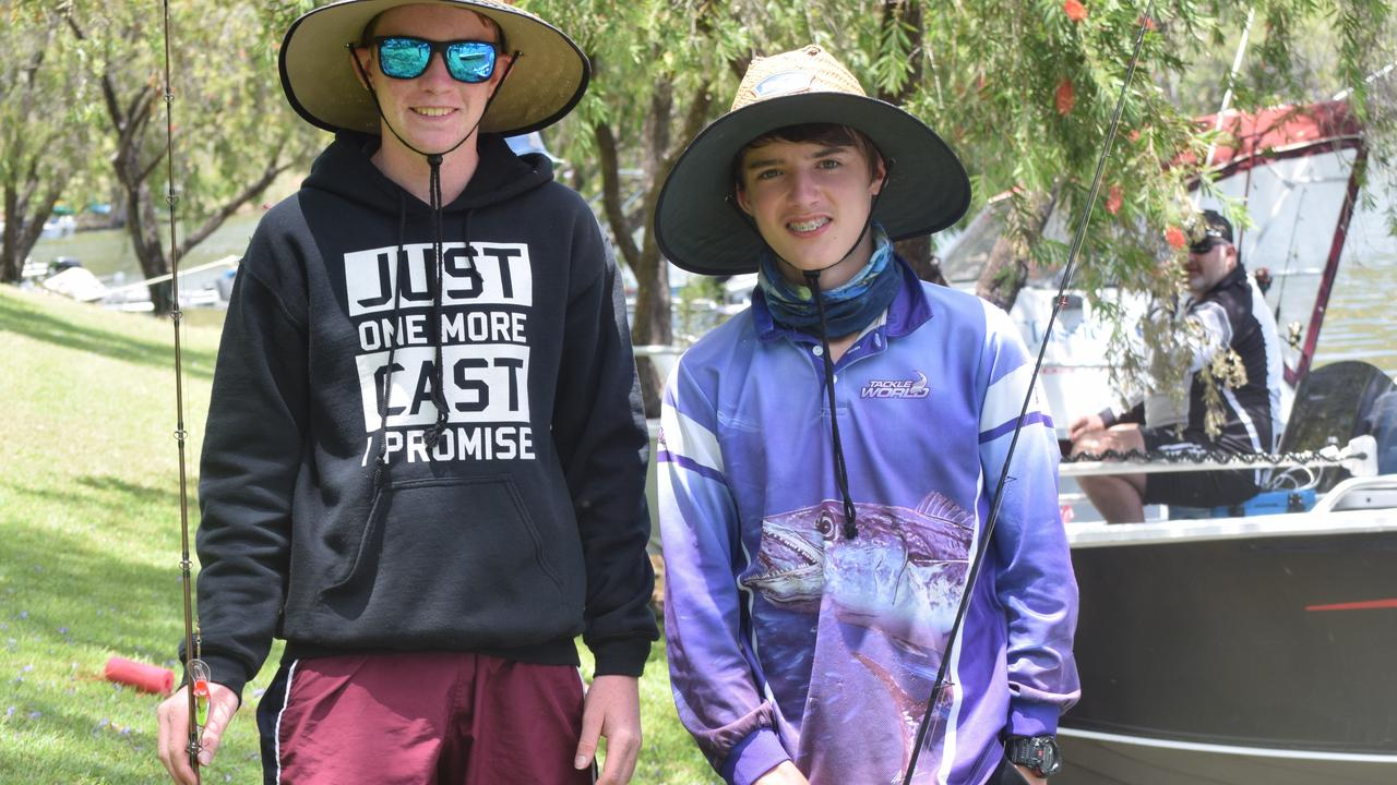 WET A LINE: Callum Parker and Lachlan Obst at the Cania Fishing Classic in 2017.
