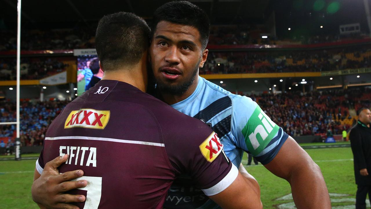 David Fifita and Payne Haas after Origin I. Picture: Adam Head