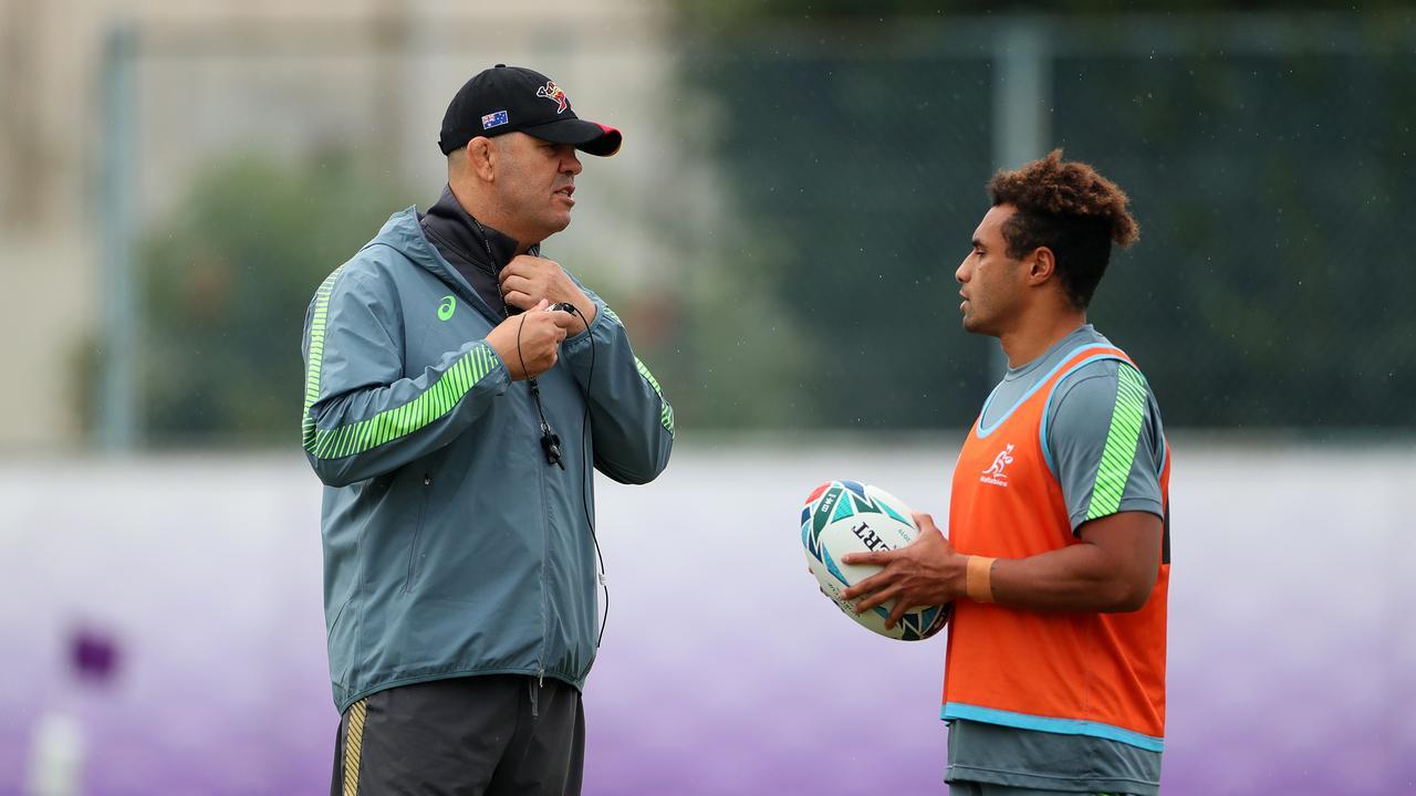 Michael Cheika (L) has found an ally in veteran halfback Will Genia. Picture: Getty