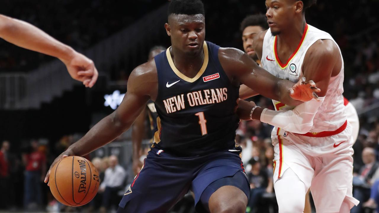 Zion Williamson in action during a pre-season game for the Pelicans.