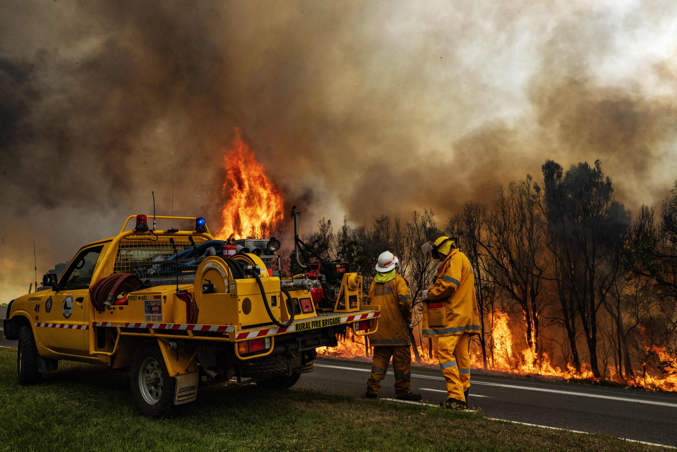 More than 100 firefighters rushed to the latest Peregian blaze, bringing it under control with the help of waterbombing helicopters. Photo: Lachie Millard
