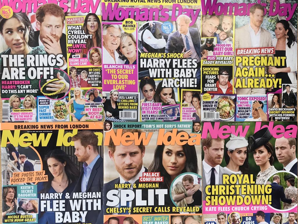 A deluge of headlines. This is just some of the coverage given to Harry and Meghan in Australia's New Idea and Woman's Day magazines in 2019. Picture: New Idea and Woman's Day