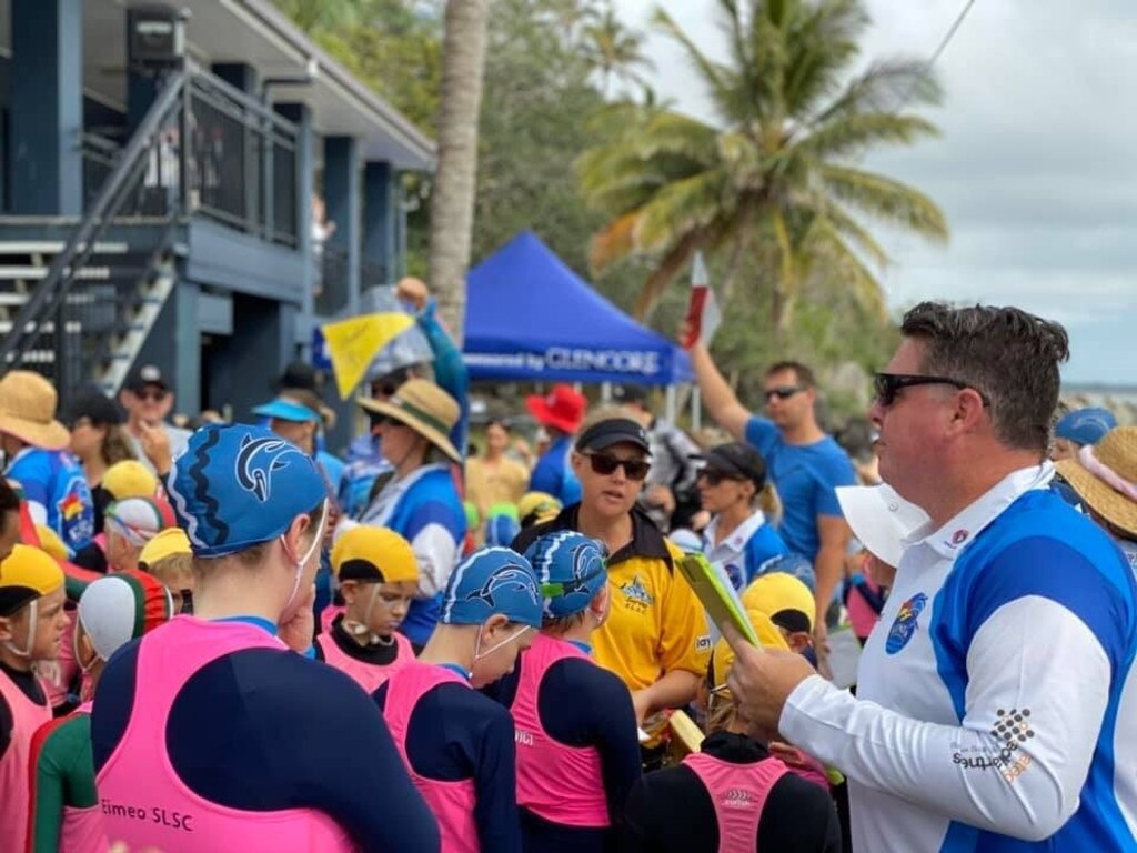 Age manager Steve Sayer organises the nippers at the Eimeo Tri-series Surf Life Saving Carnival.