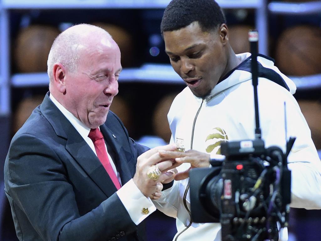 Toronto Raptors guard Kyle Lowry receives his 2019 NBA basketball championship ring.