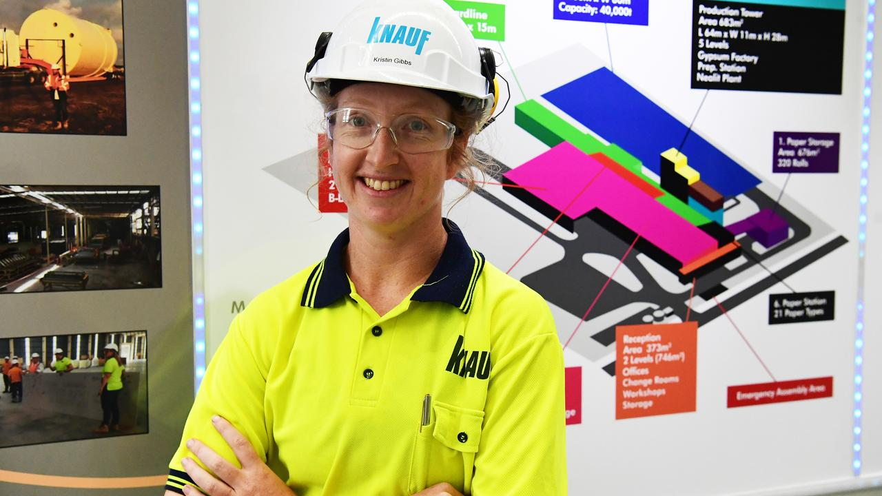 The Knauf plasterboard factory at the Port of Bundaberg. Production manager Kristin Gibbs.