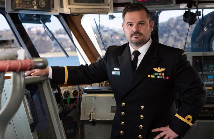 Royal Australian Navy officer, Sub Lieutenant Kris Petersen, RAN, on the bridge of HMAS Gascoyne. PICTURE: ADF/Supplied