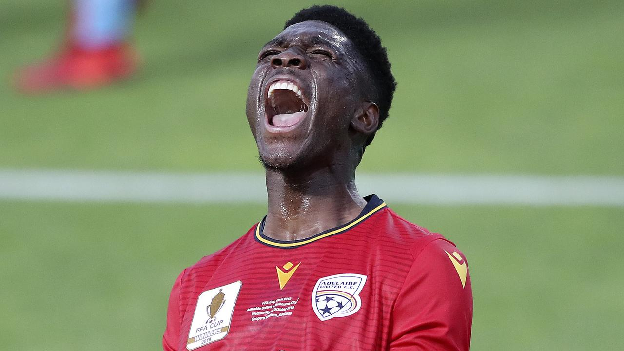 Adelaide United striker Al Hassan Toure celebrates his first half goal. Picture: Sarah Reed