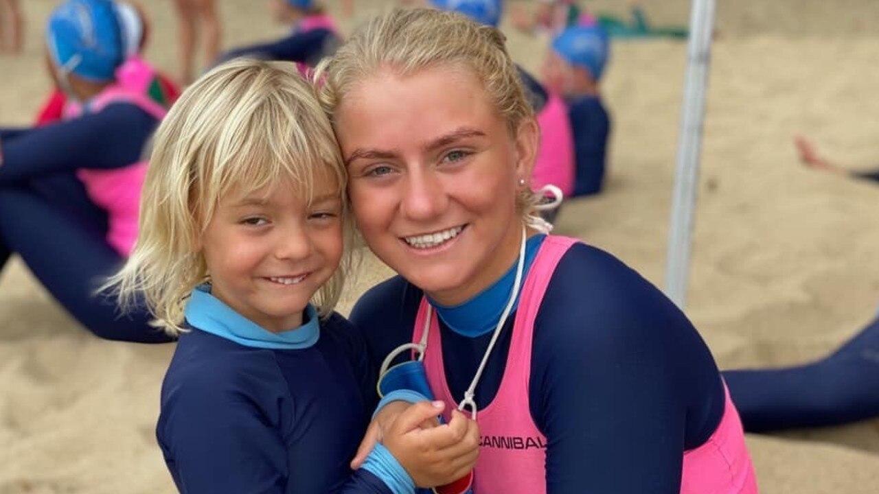 Alani Pembroke and Briana Baker at the Eimeo Tri-series surf life saving carnival.