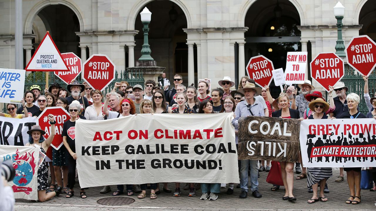 Anti Adani protest outside Parliament House, Brisbane 4th of March 2019. (AAP Image/Josh Woning)