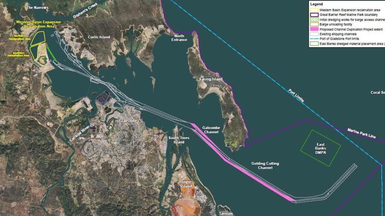 A map of the proposed plans for two channel duplication projects within the Gladstone Harbour.