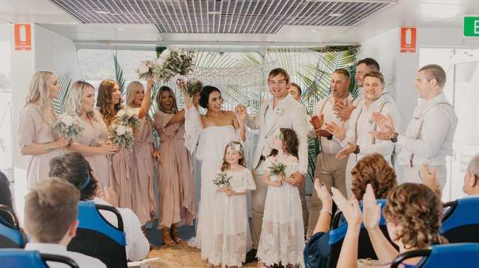 WEDDING AT SEA: Couple say I do on boat at island