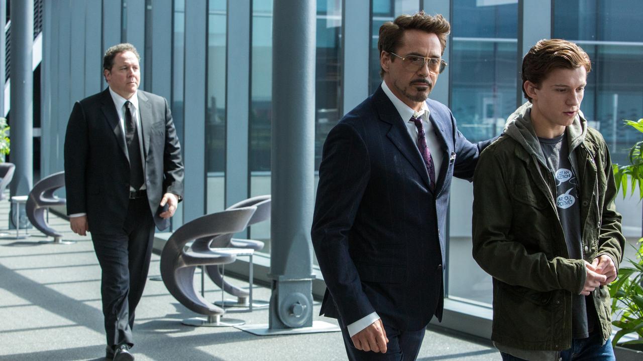 L-R: Jon Favreau, Robert Downey Jr. and Tom Holland in Spider-Man: Homecoming.
