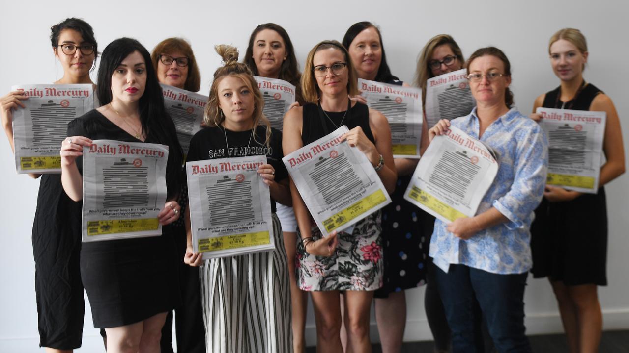 The Daily Mercury team stands up for press freedom: L-R: Back: Zizi Averill, Loris Wall, deputy editor Melanie Plane, editor Rae Wilson, Janessa Ekert, Rainee Shepperson. Front: Melanie Whiting, Kate Rasmussen, Angela Seng and Kirili Lamb.