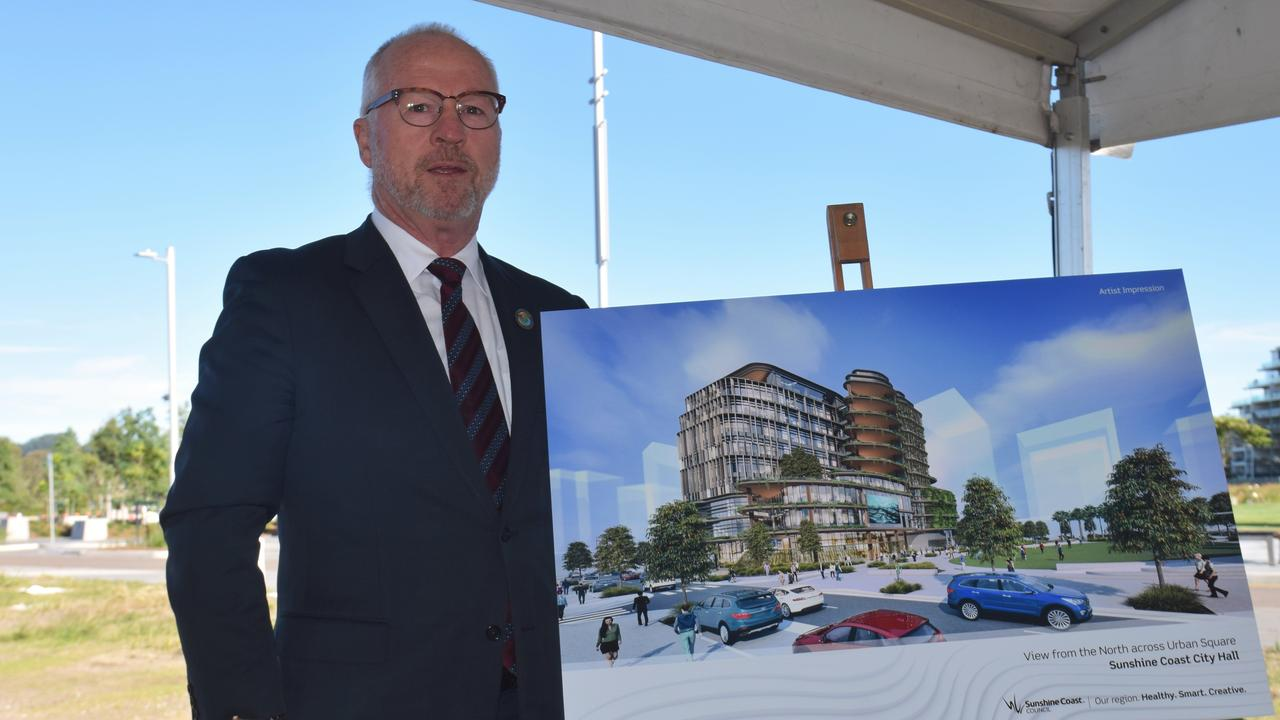 Sunshine Coast Mayor Mark Jamieson unveils the design concept for Sunshine Coast City Hall, to be developed in the Maroochydore CBD.