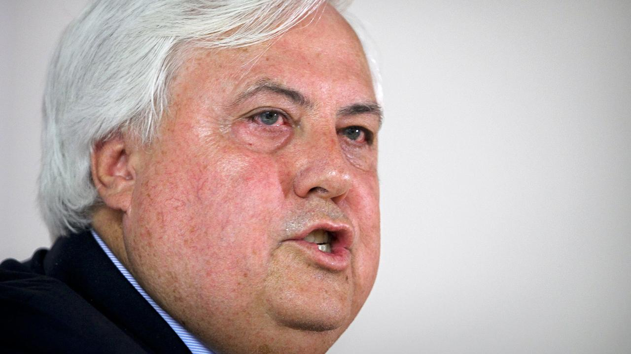 Clive Palmer speaks during a news conference in Brisbane in 2012 about his China First coal project in the Galilee Basin. Photographer: Patrick Hamilton.