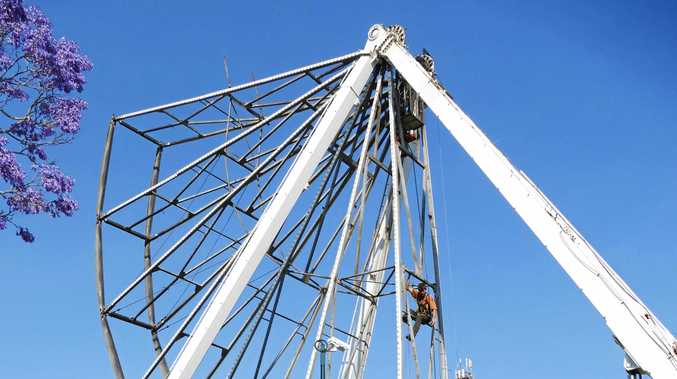 GOING UP: Australia's biggest wheel starts to take shape