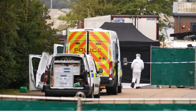 A Police forensic investigation team is parked near the site where the bodies were discovered. Picture: Leon Neal/Getty Images  Source:Getty Images