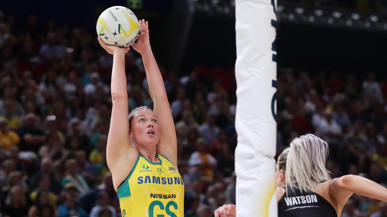 Australian Diamonds star Caitlin Thwaites is retiring from international duties. Picture: Matt King/Getty Images