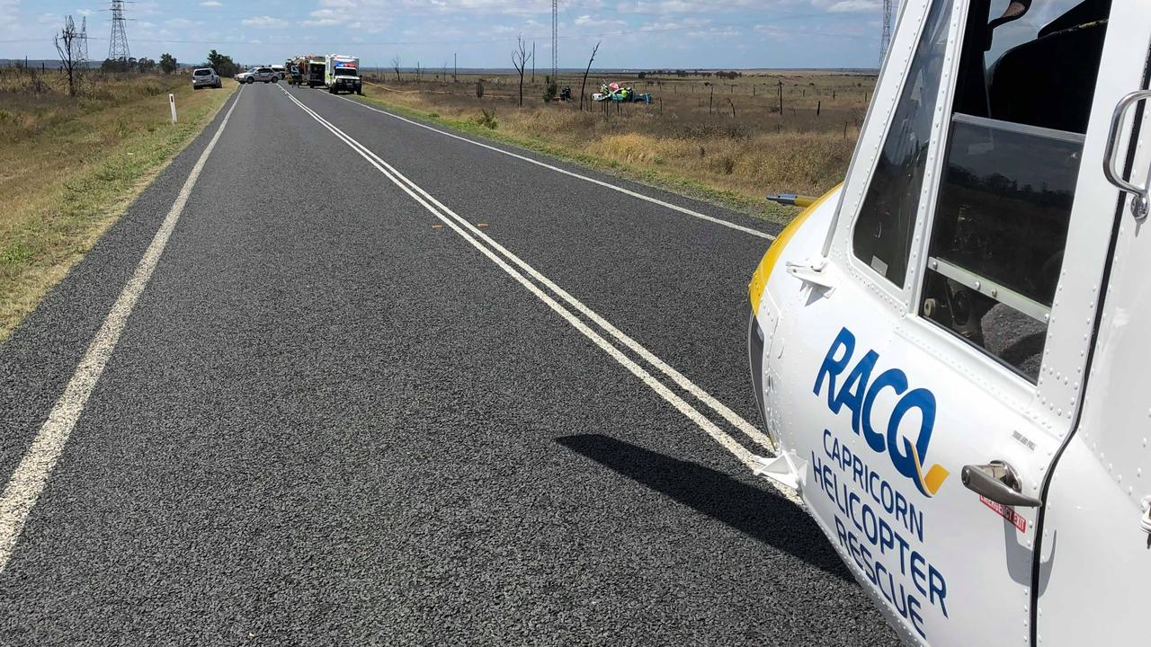 A man in his 50s was flown to Rockhampton Hospital after rolling his car on the Fitzroy Developmental Road on Thursday.