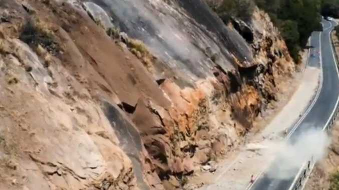 Watch: Massive boulder smashes into Far North highway