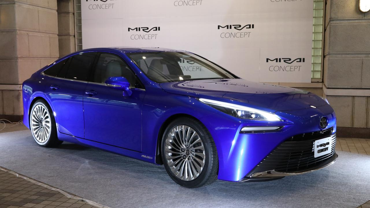 Toyota ditches the dorky styling of its current Mirai hydrogen fuel cell car for a sleek four-door coupe look.