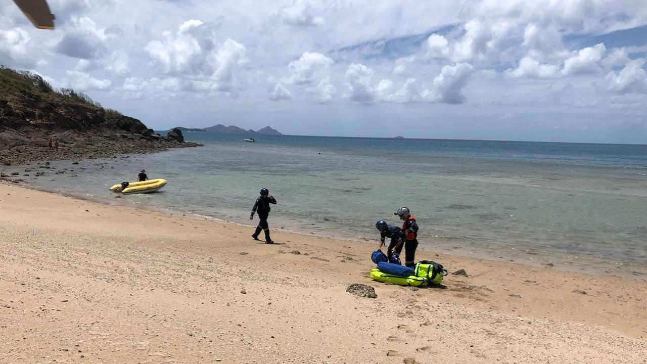 A 21-year-old Italian tourist was winched by RACQ CQ Rescue today and flown to Mackay Base Hospital after he fell about seven metres down a cliff onto rocks at Whitehaven Beach.