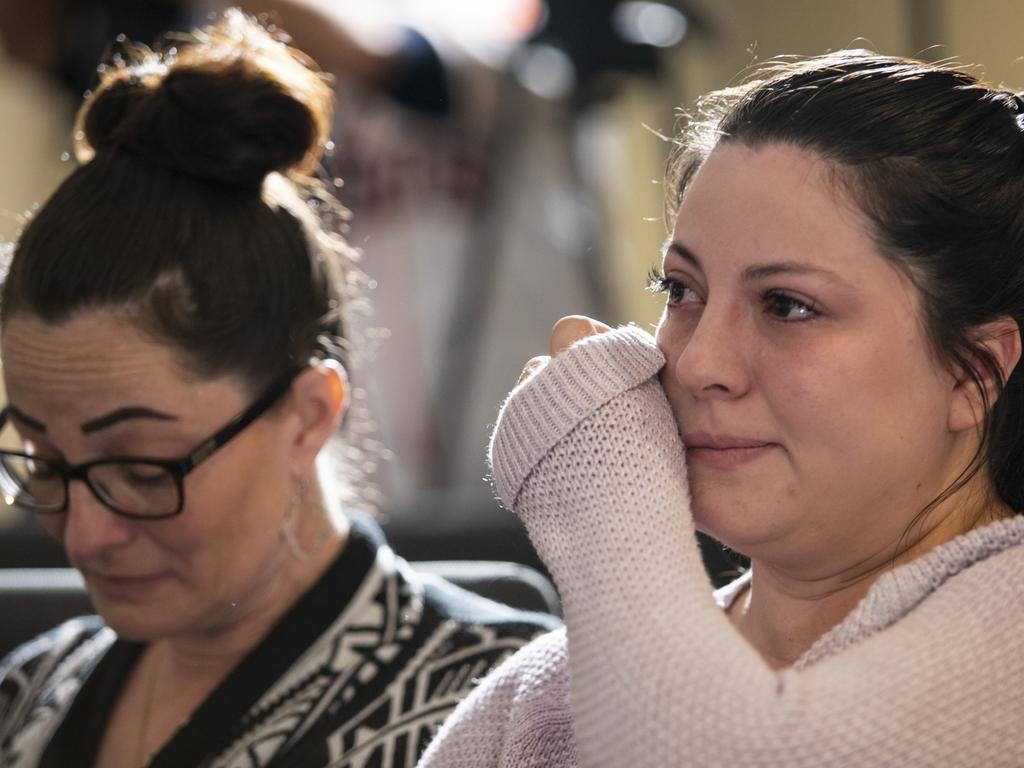 Angeleanna Estorffe, right, the wife of slain Australian Brenton Estorffe, at a press conference regarding her husband's murder. Picture: Scott Dalton